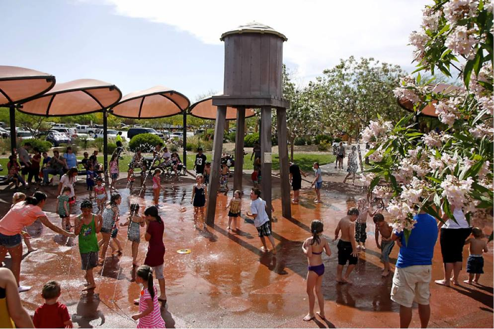 Exploration Park splash pad in Mountains Edge, Las Vegas