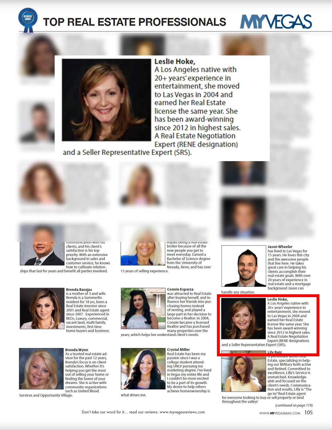 Leslie Hoke Voted among top real estate professionals by MYVEGAS Magazine